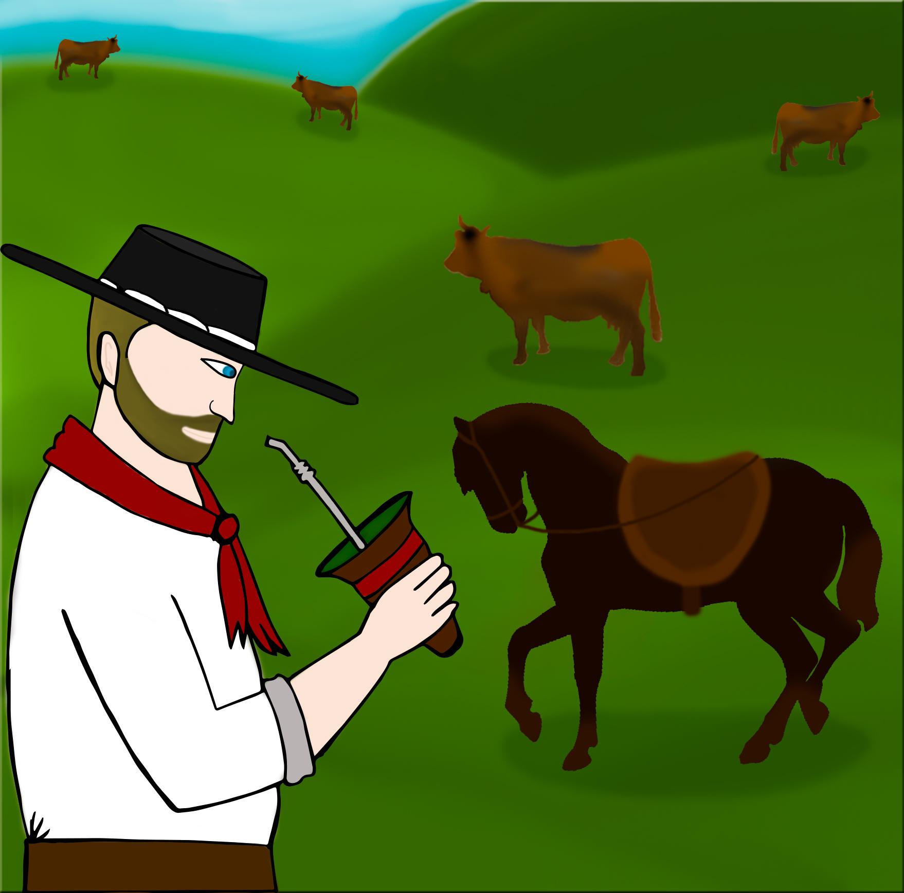 ilustração de gaúcho com chimarrão