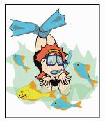 Ilustração da Sol nadando com peixinhos